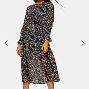 Topshop Floral Pintuck Chuck On Midi Dress sz 2